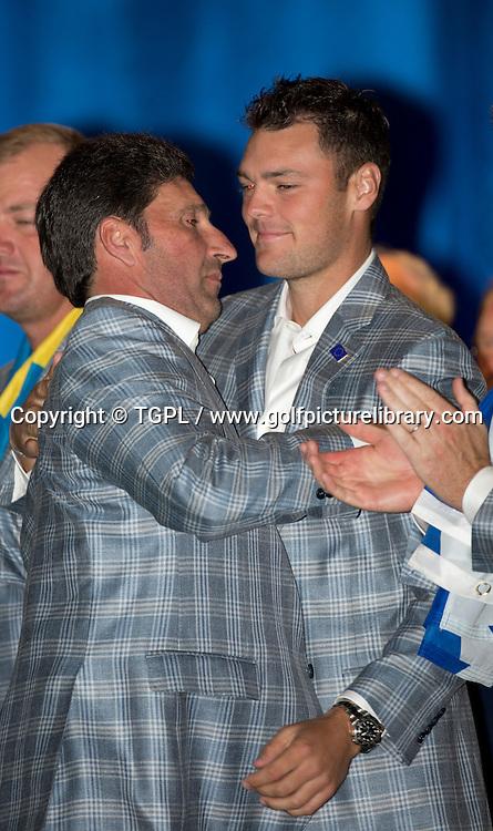 European captain Jose Maria OLAZABAL (EUR) and Martin KAYMER (EUR) during closing ceremony,Ryder Cup Matches,Medinah CC,<br /> Medinah,Illinois,USA.