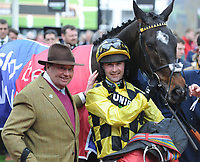 National Hunt Horse Racing - 2020 Cheltenham Festival - Tuesday, Day One (Champion Day)<br /> <br /> Winner, Nico de Boinville on Shishkin with trainer Nicky Henderson, in the 13.30 Sky Bet Supreme Novices' Hurdle (Grade 1, Class 1), at Cheltenham Racecourse.<br /> <br /> COLORSPORT/ANDREW COWIE