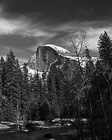 Half Dome and the Merced River. Yosemite Valley in the Winter. Yosemite National Park.. Image taken with a Nikon D3x camera and 70-200 mm f/2.8 lens.