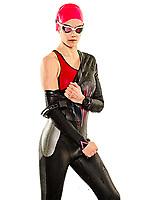 one caucasian woman practicing triathlon triathlete ironman swimmer swimming swimsuit studio shot  isolated on white background