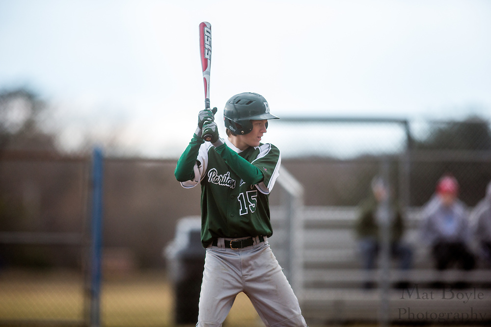 Raritan Valley Community College Baseball Sophomore Outfielder Josh Clark (15); Raritan Valley Baseball hosted by Gloucester County College at Gloucester County College in Sewell, NJ on Friday March 1, 2013. (photo / Mat Boyle)