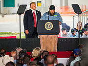 11 JUNE 2019 - COUNCIL BLUFFS, IOWA: US President DONALD J. TRUMP, left, listens to KENNY WILCOX, an Iowa farmer, talk about the importance of ethanol to Iowa corn farmers at Southwest Iowa Renewable Energy. President Trump visited Southwest Iowa Renewable Energy in Council Bluffs Tuesday to announce that his administration was relaxing rules on E15, an ethanol additive for gasoline. Iowa is one of the leading ethanol producers in the U.S. and Iowa corn farmers hope the administration's change in E15 rules will spur demand for corn.          PHOTO BY JACK KURTZ