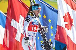 05.03.2011, Pista di Prampero, Tarvis, ITA, FIS Weltcup Ski Alpin, Abfahrt der Damen, im Bild Elisabeth Goergl (AUT, Platz 3)  auf dem Weg zum Podium// Elisabeth Goergl (AUT place 3) during Ladie's Downhill FIS World Cup Alpin Ski in Tarvisio Italy on 5/3/2011. EXPA Pictures © 2011, PhotoCredit: EXPA/ J. Groder