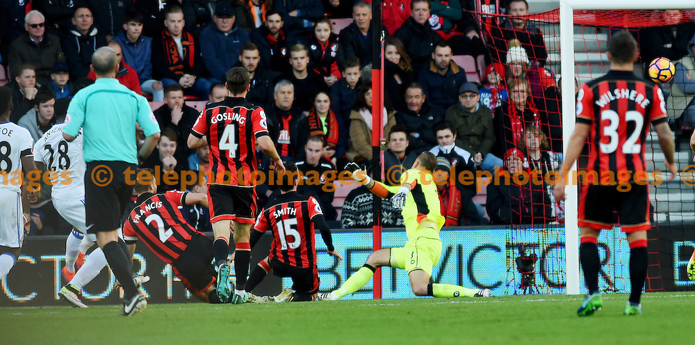 Victor Anichebe of Bournemouth (left) scores past Artur Boruc of Bournemouth during the Premier League match between AFC Bournemouth and Sunderland AFC at the Vitality Stadium in Bournemouth. November 5, 2016.<br /> Simon  Dack / Telephoto Images<br /> +44 7967 642437