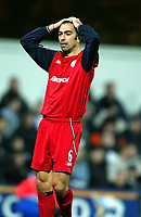 Photo. Aidan Ellis.<br />Fulham v Bolton Wanderers.<br />FA Barclaycard Premiership.<br />6/12/2003.<br /> Bolton's Youri Djorkaeff cant believe his teram have missed anothe rchance to score
