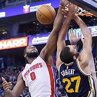 25 January 2016: Utah Jazz center Rudy Gobert (27) is fouled by Detroit Pistons center Andre Drummond (0) during the Detroit Pistons 95-92 victory over the Utah Jazz, at the Vivint Smart Home Arena, Salt Lake City, Utah, USA.