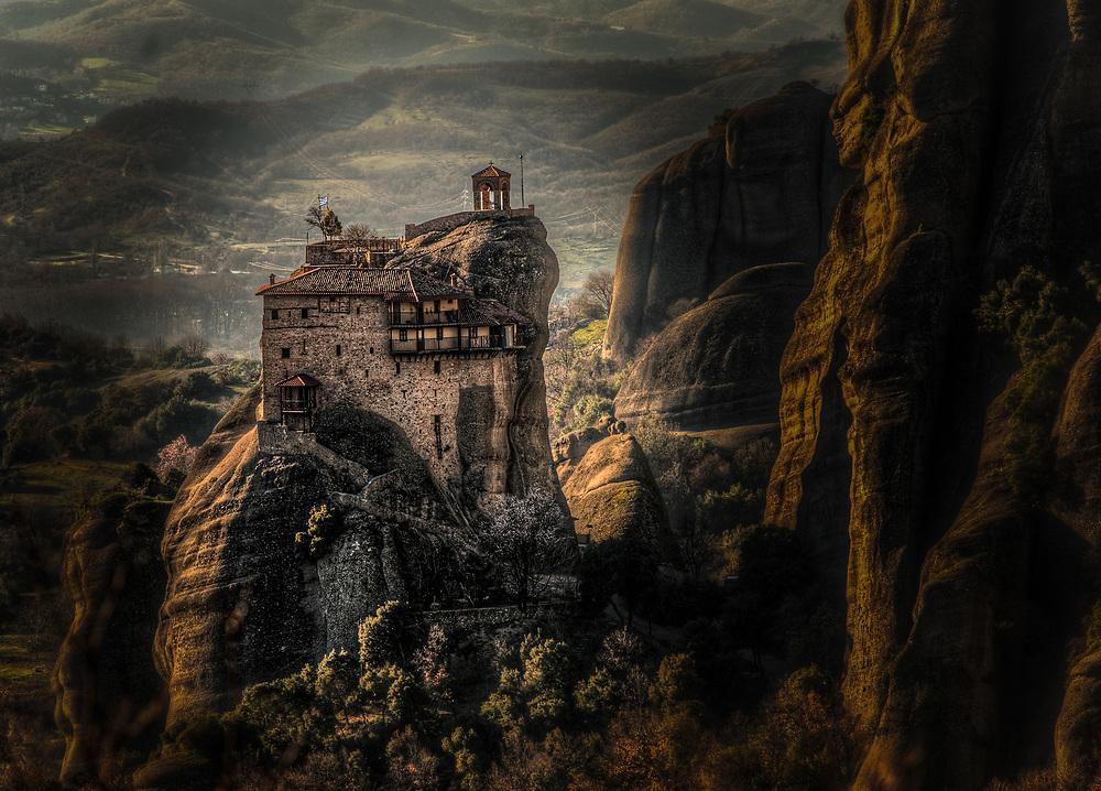 Mountain top monastery in Meteora, Greece