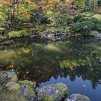 Entsuin Garden - There is a Japanese-style moss garden with a heart shaped pond, as well as a stone and moss garden nearer the entrance to Entsuin.  Entsuin was built in 1646 near Zuiganji Temple to house the mausoleum of Date Mitsumune, the son of the ruling local feudal lord Date Terumune. The temple is devoted to Kannon, the Buddhist goddess of mercy. Mitsumune died an untimely death at the age of 19.  Entsuin's main hall was originally Mitsumune's summer residence in Tokyo before his death, and was relocated to Matsushima by his father, who surrounded the structure with gardens and renamed it Daihitei or mercy in Japanese.