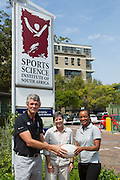 (l-r) Morne du Plessis (outgoing Managing Director of the SSISA), Prof Vicki Lambert (head of UCT Division of Exercise Science and Sports Medicine), Dr Phathokuhle Zondi (incoming Managing Director of the Sports Science Institute of SA (SSISA)). Image by Greg Beadle