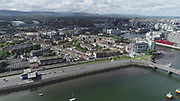Aerial Still images around Dublin Port during COVID 19 lockdown, Stenna, CLdN, P&O, Cobbelfreight, Tolka Quay, Alexander Rd, Terminal 1,2 ,3, River Liffey, EXO, Building, East Link, Bridge, River Liffey, Samual Beckett Bridge, Capitol Dock, North Quay, Wall, Landsdown Rd, Aviva Stadium, Grand Canal Dock, Irish Town,