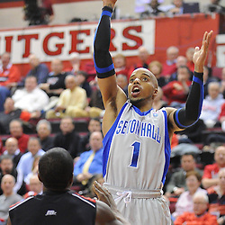 Seton Hall Pirates guard Jordan Theodore (1) shoots a basket during first half Big East NCAA Basketball between the Rutgers Scarlet Knights and Seton Hall Pirates at the Louis Brown Athletic Center. Rutgers leads Seton Hall 28-26 at halftime.