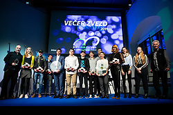 Tanja Zakelj and Primoz Roglic with winners at the Slovenia's Cyclist of the year award ceremony by Slovenian Cycling Federation KZS, on November 26, 2019 in Ljubljana Castle, Ljubljana, Slovenia. Photo by Matic Klansek Velej / Sportida