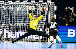 Klemen Ferlin of Slovenia vs Timo Kastening of Germany during handball match between National Teams of Germany and Slovenia at Day 2 of IHF Men's Tokyo Olympic  Qualification tournament, on March 13, 2021 in Max-Schmeling-Halle, Berlin, Germany. Photo by Vid Ponikvar / Sportida