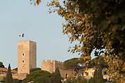 Musee Del La Castre and medieval tower of Cannes with French flag, Cannes, France.