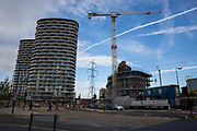 A construction site with a large crane building the new Pump Tower in Royal Victoria Dock, London, England, United Kingdom. Pump Tower will be residential apartments being developed by City and Docklands Property Group.