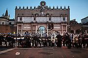 Scontri con la polizia durante la manifestazione di protesta contro Matteo Salvini, il giorno prima del suo comizio a piazza del Popolo, Roma 27 febbraio 2015.  Christian Mantuano / OneShot <br /> <br /> Clashes with police during the protest against Matteo Salvini the day before his political meeting in Piazza del Popolo, Rome February 27, 2015. Christian Mantuano / OneShot