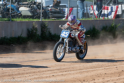 Hooligan flattracker no. 653 Tyler Bereman on his Indian racer in the Hooligan flattracker JJ Flairty in the Spirit of Sturgis races at the fairgrounds during the Sturgis Black Hills Motorcycle Rally. Sturgis, SD, USA. Monday, August 5, 2019. Photography ©2019 Michael Lichter.