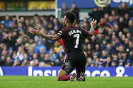 Raheem Sterling of Manchester City reacts when he's not awarded a foul. Premier league match, Everton v Manchester City at Goodison Park in Liverpool, Merseyside on Sunday 15th January 2017.<br /> pic by Chris Stading, Andrew Orchard sports photography.
