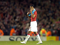 Photo: Olly Greenwood.<br />Arsenal v PSV Eindhoven. UEFA Champions League. Last 16, 2nd Leg. 07/03/2007. Arsenal's Theo Wallcot leaves the pitch dejected