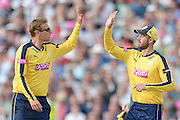 Danny Briggs and James Vince during the NatWest T20 Blast Semi Final match between Hampshire County Cricket Club and Lancashire County Cricket Club at Edgbaston, Birmingham, United Kingdom on 29 August 2015. Photo by David Vokes.