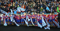 21 October 2017 Huddersfield: Premier League Football: Huddersfield Town v Manchester United: young boys line up before waving the team onto the pitch with flgs.<br /> Photo: Mark Leech