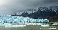 Small icebergs float on the Grey Lake in front of the Glacier Grey in Torres del Paine National Park, Chile.