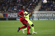 Zaydou Youssouf (Bordeaux) and Nana Asare (Gent) fight for the ball during the first leg of the Uefa Europa League play-off match between Kaa Gent and Girondins de Bordeaux on August 23, 2018 in Ghent, Belgium, Photo Vincent Van Doornick / Isosport / Pro Shots / ProSportsImages / DPPI