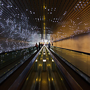 "The spectacular and mesmerizing ""Multiverse"" by American artist Leo Villareal is a moving walkway with light-emitting diodes (LEDs), Mac mini, and electronic circuitry, installed between the concourse walkway of the East and West buildings of the National Gallery of Art in, Washington, DC."