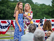 28 JUNE 2019 - DES MOINES, IOWA: Dr. JILL BIDEN, right, introduces her granddaughter, NATALIE BIDEN, left, to voters at the State Historical Museum of Iowa. Dr. Biden was in Des Moines Friday to campaign for her husband, former Vice President Joe Biden. Vice President Biden, who was Vice President for 8 years during the Obama administration, is one of the Democratic front runners for the Presidency. Iowa traditionally hosts the the first selection event of the presidential election cycle. The Iowa Caucuses will be on Feb. 3, 2020.             PHOTO BY JACK KURTZ