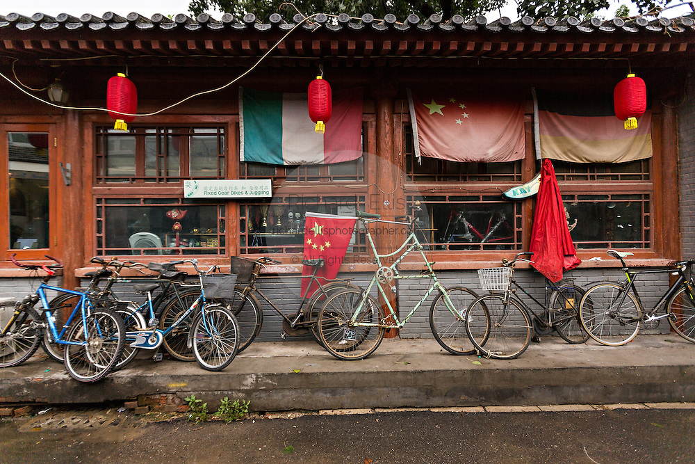 Trendy bicycle shop Natooke in the restored hutong district of Wudaoying  in Beijing, China