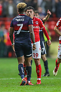 Doncaster Rovers forward Mallik Wilks (7) and Charlton Athletic defender Ben Purrington (16) clash and then have words during the EFL Sky Bet League 1 second leg Play-Off match between Charlton Athletic and Doncaster Rovers at The Valley, London, England on 17 May 2019.