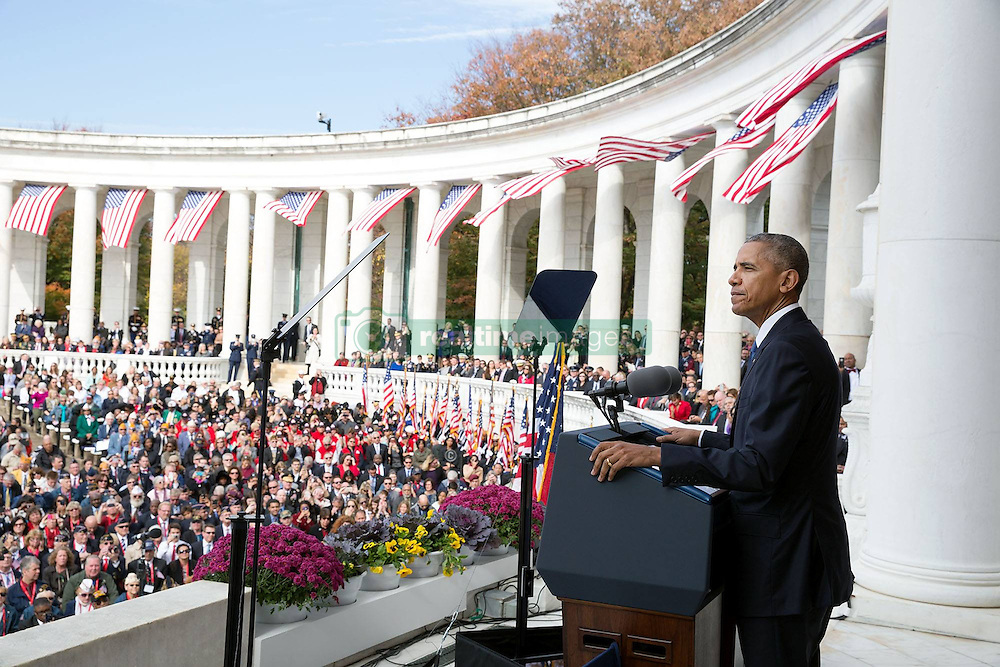November 11, 2016 - Arlington, United States of America - U.S. President Barack Obama delivers his address during Veterans Day at the Memorial Amphitheater in Arlington National Cemetery November 11, 2016 in Arlington, Virginia. (Credit Image: © Pete Souza/Planet Pix via ZUMA Wire)