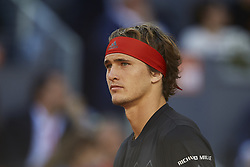 May 13, 2018 - Madrid, Madrid, Spain - Alexander Zverev of Germany looks on in his final match against Dominic Thiem of Austria during day nine of the Mutua Madrid Open tennis tournament at the Caja Magica on May 13, 2018 in Madrid, Spain  (Credit Image: © David Aliaga/NurPhoto via ZUMA Press)