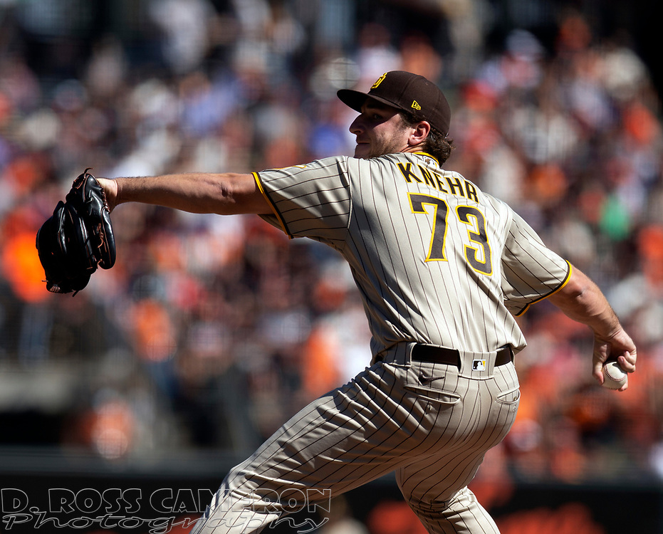 Oct 3, 2021; San Francisco, California, USA; San Diego Padres starting pitcher Reiss Knehr (73) delivers a pitch against the San Francisco Giants during the second inning at Oracle Park. Mandatory Credit: D. Ross Cameron-USA TODAY Sports
