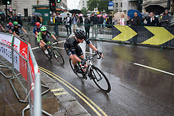 Emilia Fählin (SWE) of Wiggle Hi5 Cycling Team leans into a corner on Trafalgar Square during the Prudential Ride London Classique - a 66 km road race, starting and finishing in London on July 29, 2017, in London, United Kingdom. (Photo by Balint Hamvas/Velofocus.com)