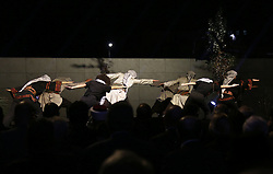 November 9, 2016 - Ramallah, West Bank, Palestinian Territory - Palestinian youths perform during the inauguration ceremony of late Palestinian leader Yasser Arafat's Museum in the West Bank city of Ramallah on November 9, 2016. The Yasser Arafat Museum opened in Ramallah, shedding light on the long-time Palestinian leader's life and offering a glimpse of history -- along with a number of his trademark black-and-white keffiyehs  (Credit Image: © Shadi Hatem/APA Images via ZUMA Wire)