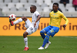 Cape Town-180825- Cape Town City player Thabo Nodada challenged by Mamelodi Sundowns defender Motjeka Madisha in the MTN 8 semi-final at Cape Town Stadum.Photographer :Phando Jikelo/African News Agency/ANA