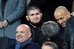 Khabib Nurmagomedov in the stands before the UEFA Champions League, Group C match at the Parc des Princes, Paris.