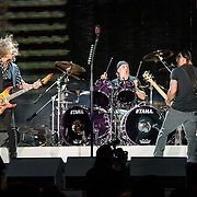 BALTIMORE, MD - May 10th, 2017 - Kirk Hammett, Lars Ulrich and Robert Trujillo of Metallica perform at M&T Bank Stadium in Baltimore, MD on the opening night of their Worldwired Tour 2017. The band released their tenth studio album, Hardwired... to Self-Destruct, in November 2016. (Photo by Kyle Gustafson / For The Washington Post)