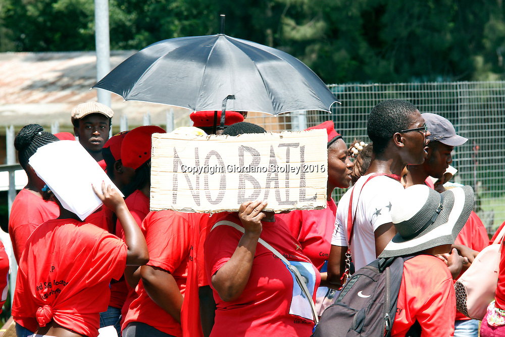 DURBAN - 3 February 2015 - Members of the SA Communist Party protest outside the Camperdown Magistrate's Court where five people appeared in connection with the murder of SACP member Phillip Dlamini. Two of those that a appeared were ANC branch executive committee members for Inchanga.  Picture: Allied Picture Press/APP