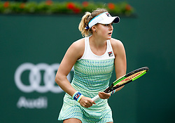 March 10, 2019 - Indian Wells, CA, U.S. - INDIAN WELLS, CA - MARCH 10: Kateryna Kozlova (UKR) hits a forehand during the third round of the BNP Paribas Open on March 10, 2019, at the Indian Wells Tennis Gardens in Indian Wells, CA. (Photo by Adam Davis/Icon Sportswire) (Credit Image: © Adam Davis/Icon SMI via ZUMA Press)