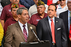June 19, 2017 - San Antonio Mayor-elect RON NIRENBERG speaks during a ceremony Monday in front of the San Antonio City Hall to announce that the term, Military City USA, had been tradmarked by the city of San Antonio. At right is Texas State Senator Jose Menendez. (Credit Image: © Robin Jerstad via ZUMA Wire)