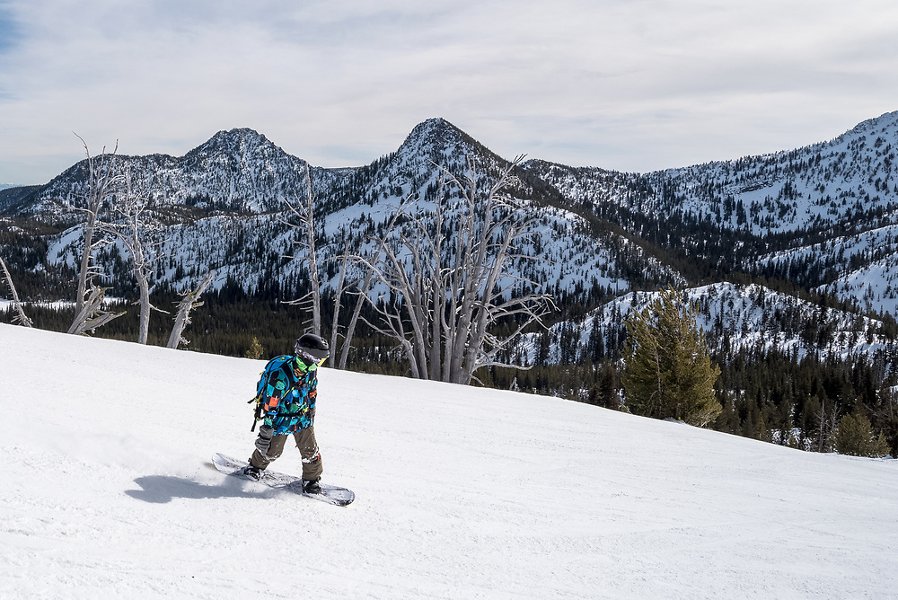 Snowboarding at Anthony Lakes Mountain Resort in Eastern Oregon.