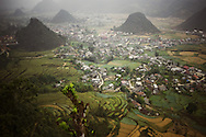 Small city spread over the valley in Ha Giang province, Vietnam, Asia
