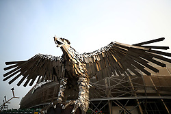 A general view of the Ferencvaros eagle sculpture outside the Groupama Arena home of the The Green Eagles before the international friendly match at the Groupama Arena, Budapest.