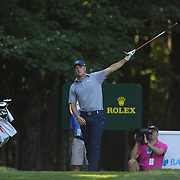 Jordan Spieth, USA, signals a wayward shot on the fourteenth hole during The Barclays Golf Tournament at The Plainfield Country Club, Edison, New Jersey, USA. 27th August 2015. Photo Tim Clayton