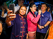 05 JANUARY 2019 - MINBURI, BANGKOK, THAILAND: SUDARAT KEYURAPHAN (pink blouse, center), the Pheu Thai Party candidate for Prime Minister of Thailand, meets voters at the Kwan Riam Floating Market at Wat Bamphen Nuea in Minburi, east of downtown Bangkok. The Thai government has tentatively scheduled a general election for 24 February 2019. It will be Thailand's first election since a military coup overthrew the government of Yingluck Shinawatra in 2014. Yingluck was a the leader of the Pheu Thai Party before her ouster. Sudarat was a member of Thaksin Shinawatra's cabinet. Thaksin's government was also deposed by a coup in 2006.       PHOTO BY JACK KURTZ