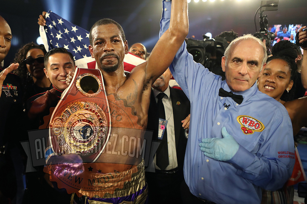 KISSIMMEE, FL - MAY 25: Jamel Herring celebrates his victory over du Masayuki Ito during the WBO World Title fight at Osceola Heritage Park on May 25, 2019 in Kissimmee, Florida. (Photo by Alex Menendez/Getty Images) *** Local Caption *** Masayuki Ito; Jamel Herring