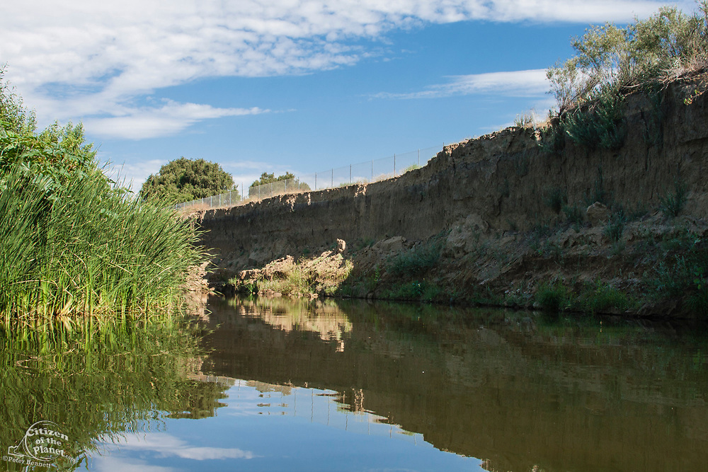 A section of the Los Angeles River nicknamed the Little Grand Canyon. Sepulveda Basin Recreation Area, Los Angeles, California, USA