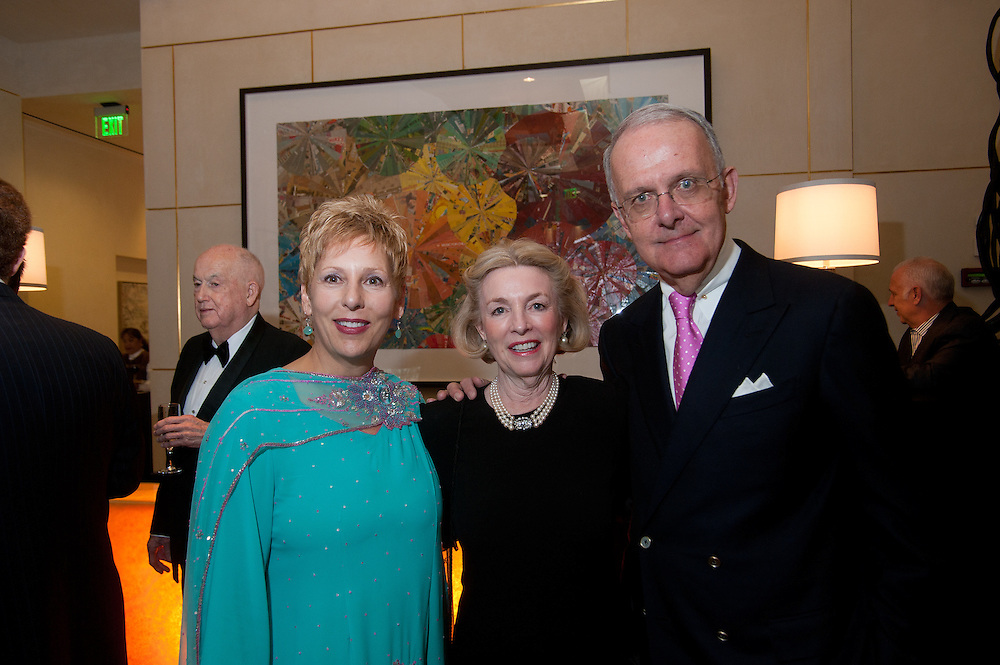 The Four Seasons Residences Austin hosted a party Friday night for current, future and prospective residents. Lorley Musiol (L), Director of Residences, Four Seasons Austin, welcomes Jim and Stanya Owen.